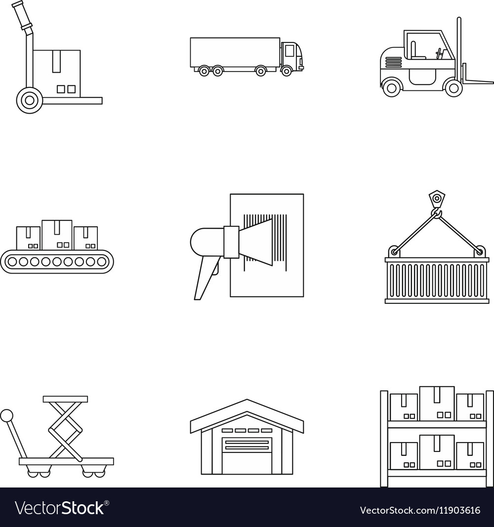 Shipping icons set outline style vector