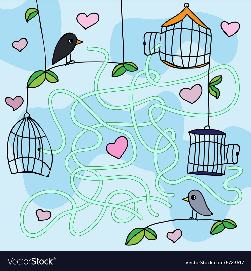 Maze game  with funny birds vector