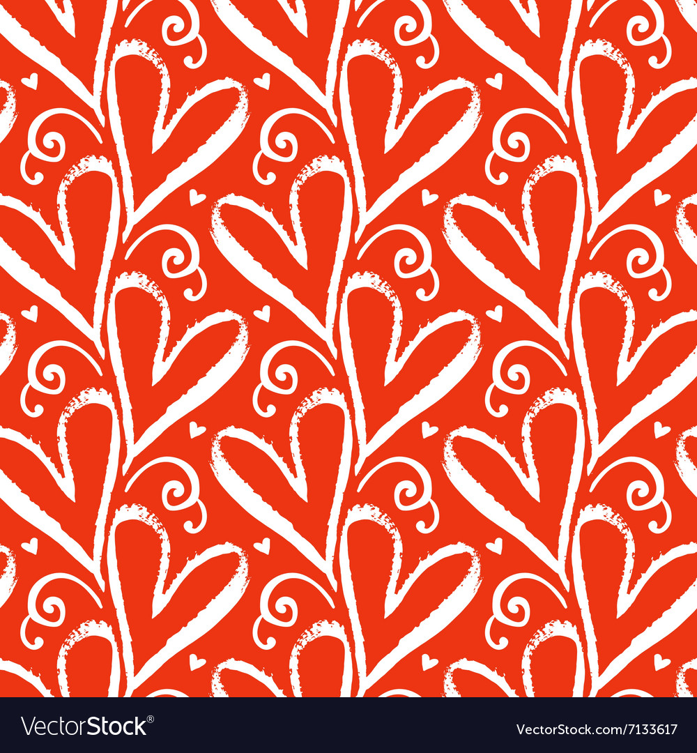 Pattern with hand drawn hearts vector