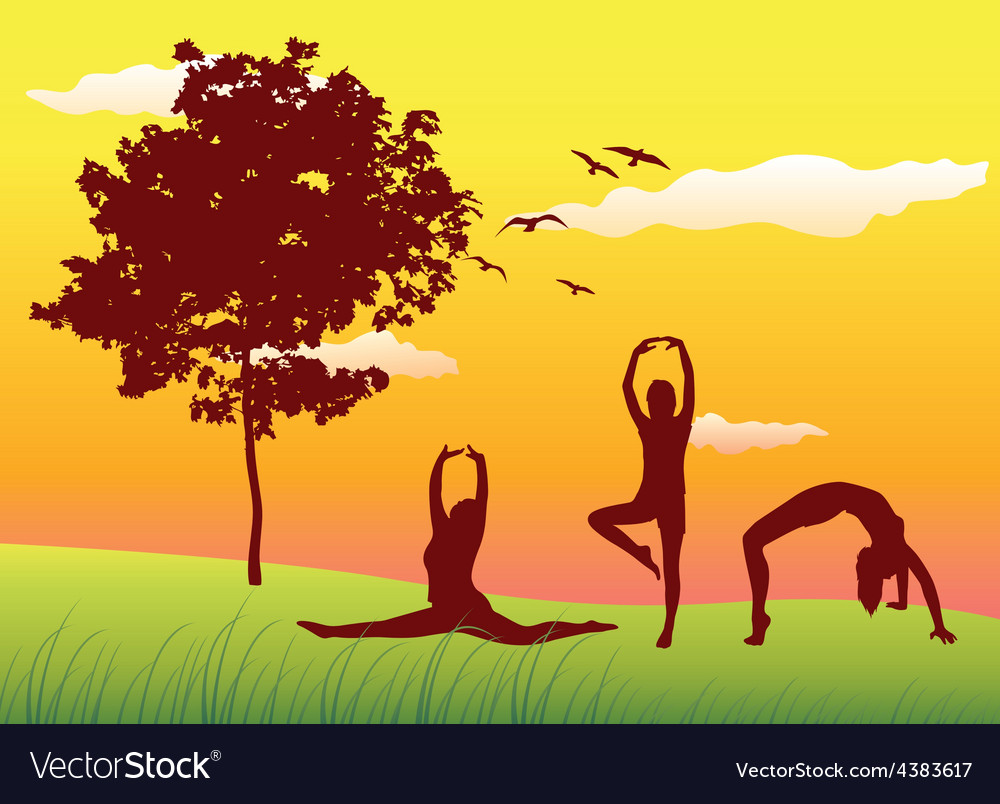 Silhouette of three women making gymnastics vector