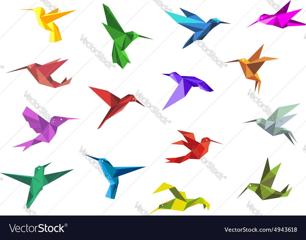 Flying origami hummingbirds or colibri birds vector