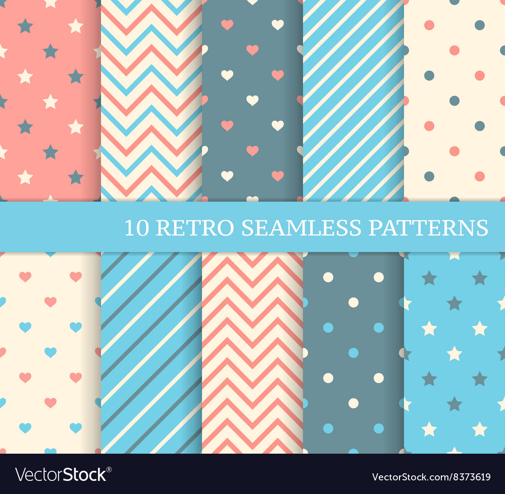 10 retro different seamless patterns vector