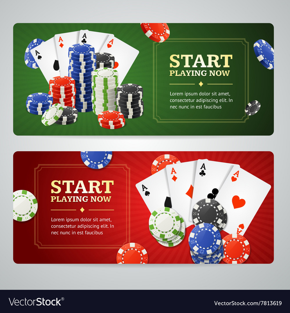 Poker casino banner set vector