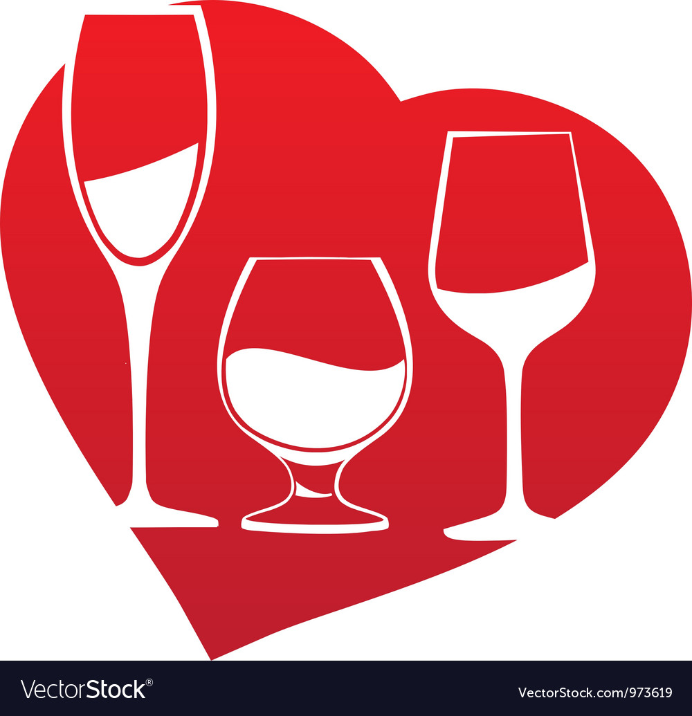 Wine glass inside heart frame vector