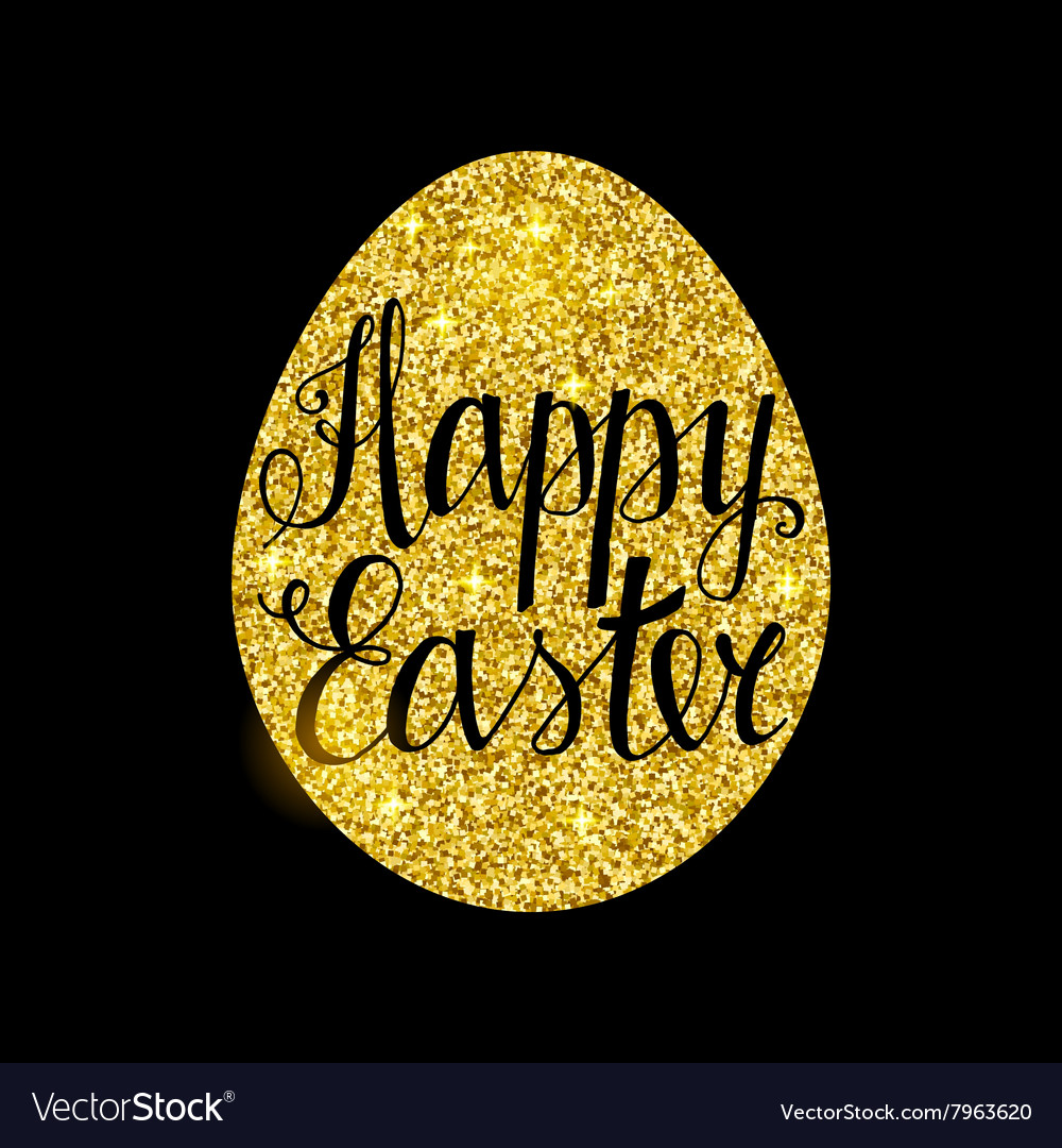 Happy easter golden card vector
