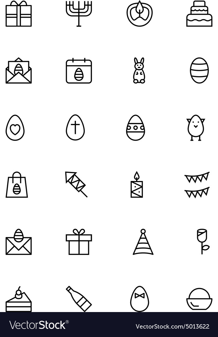 Easter line icons 4 vector