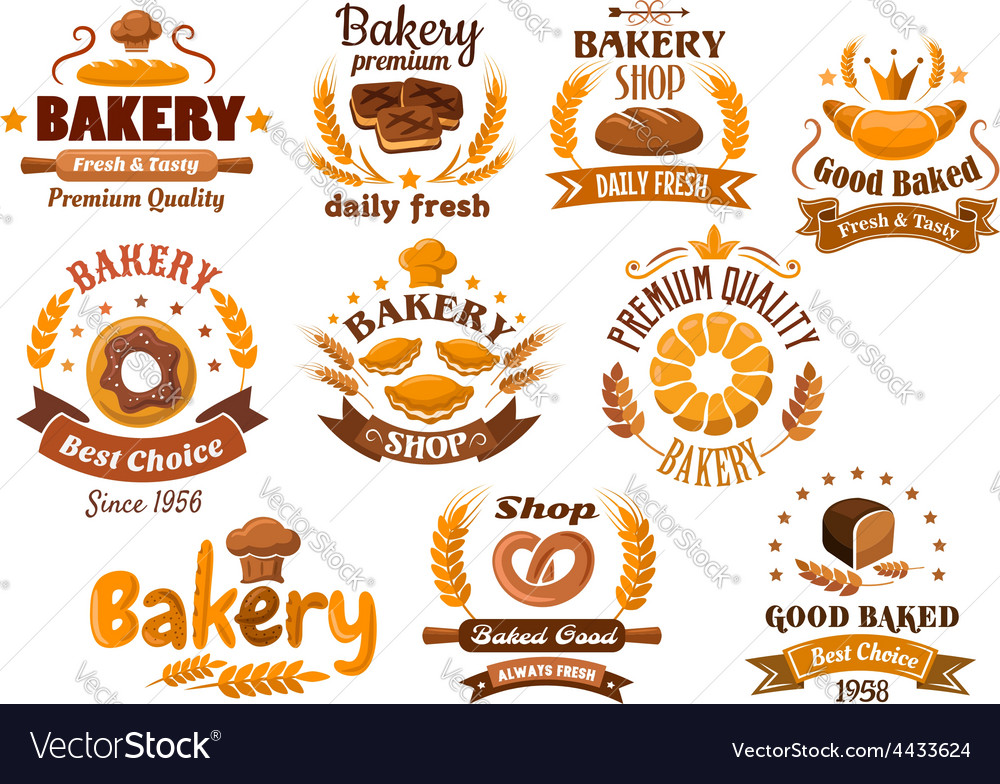 Bakery shop emblem or sign board designs vector