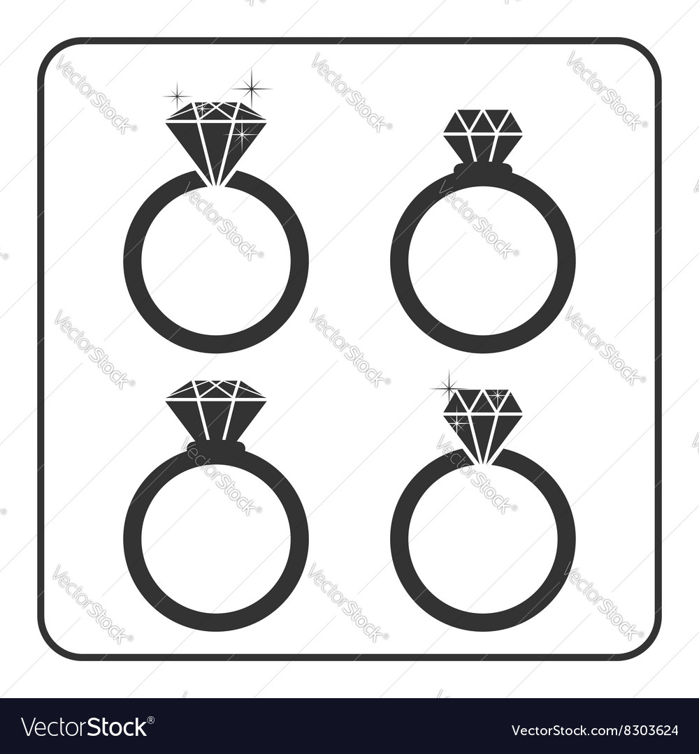 Diamond engagement ring icons set 1 vector