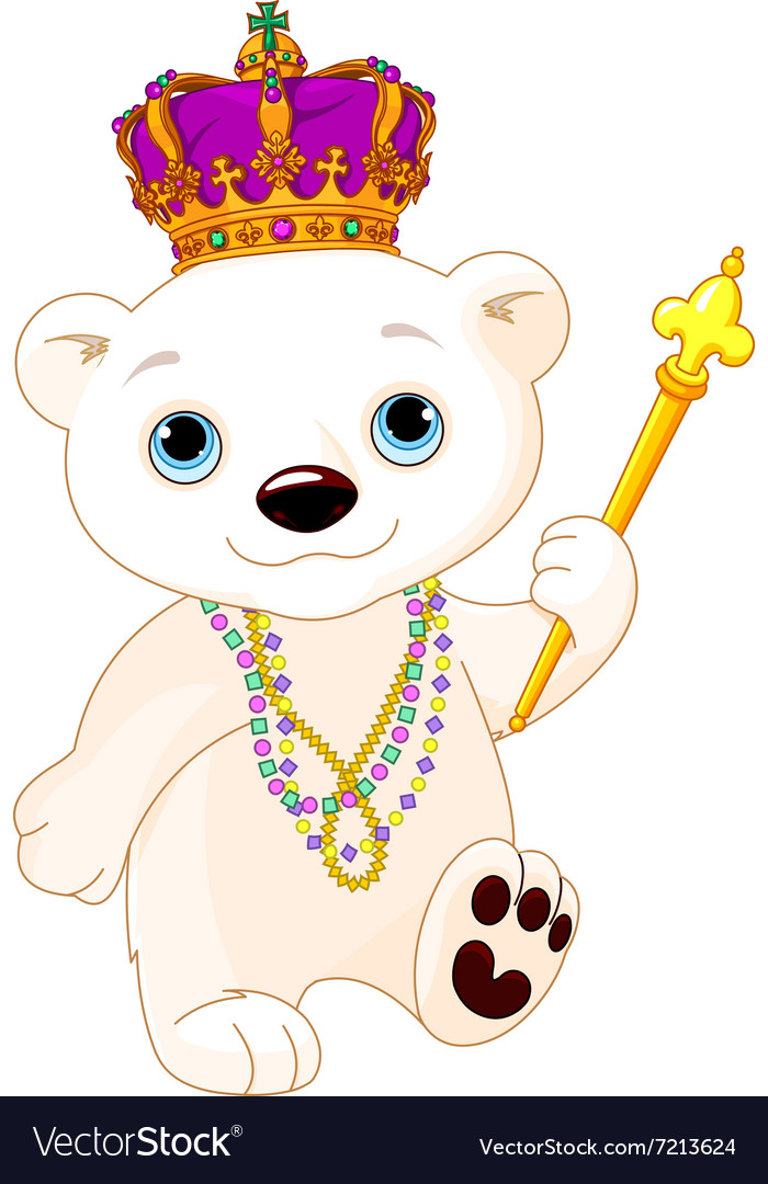 Mardi gras polar bear vector