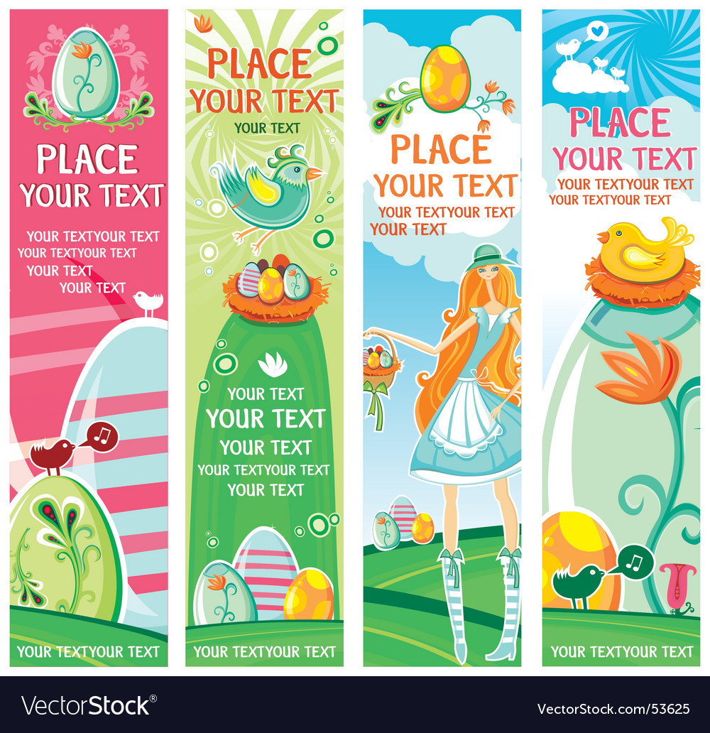 Cute easter banners vector