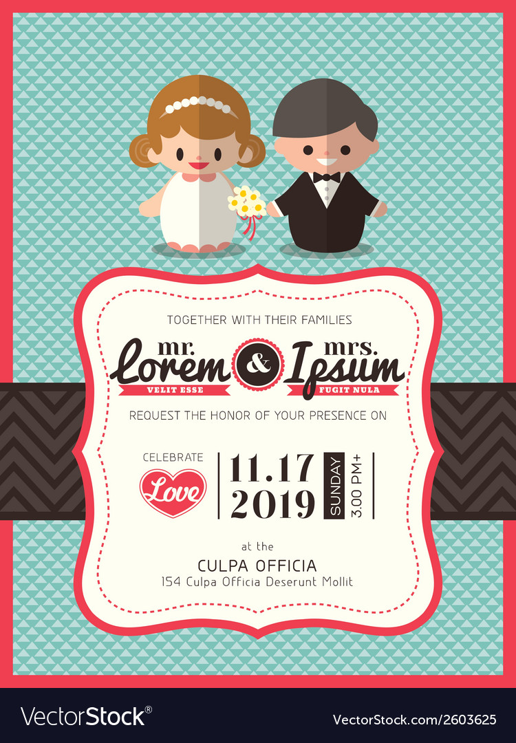 Groom and bride icon wedding invite card template vector