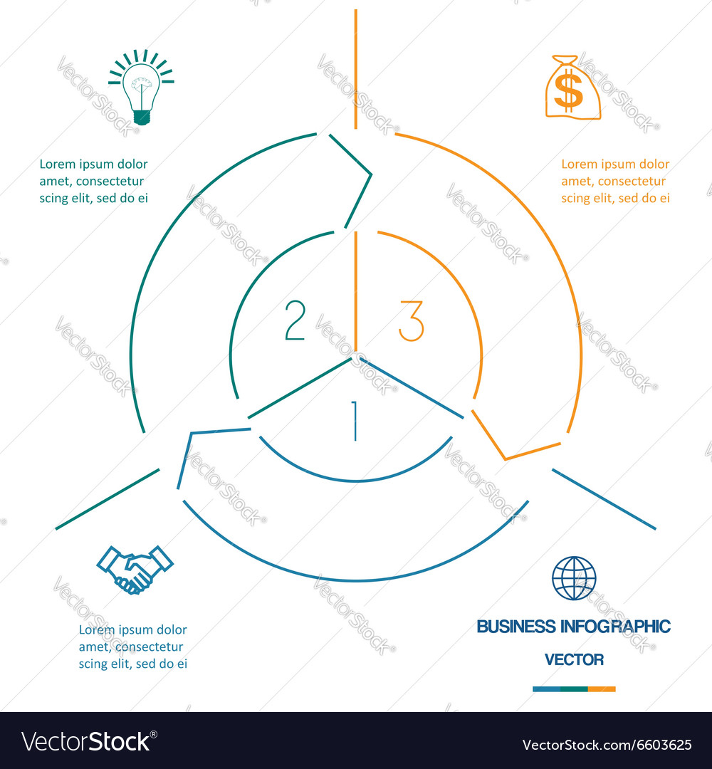 Infographic circle template from colourful lines vector