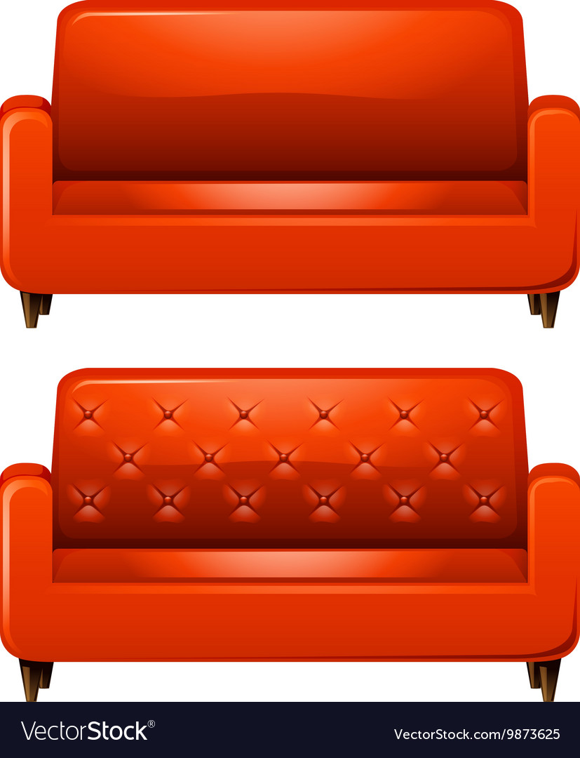 Sofa with red leather vector