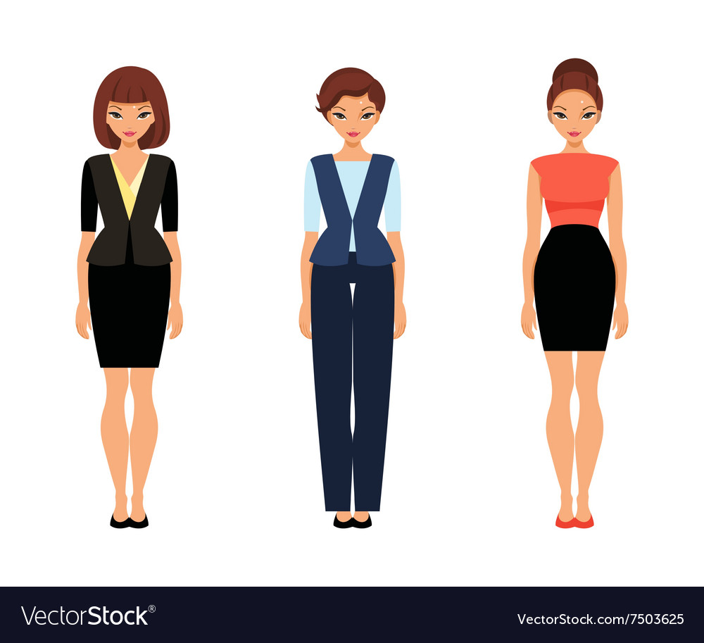 Three business women in office clothes vector