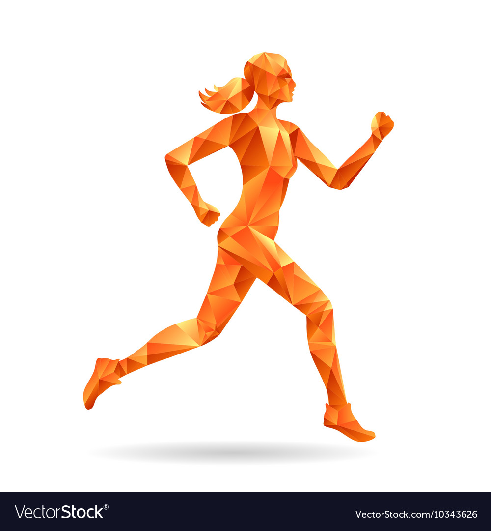 Running woman silhouette vector
