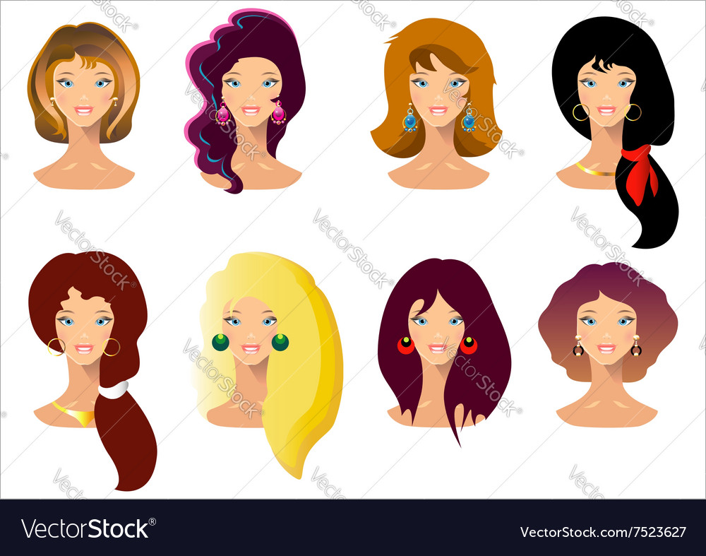 Closeup portrait of beautiful woman with hair vector