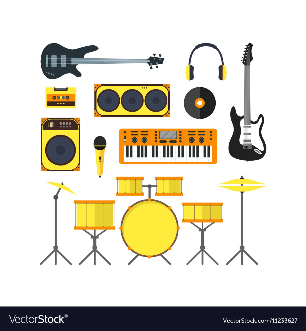Musical instruments set flat vector