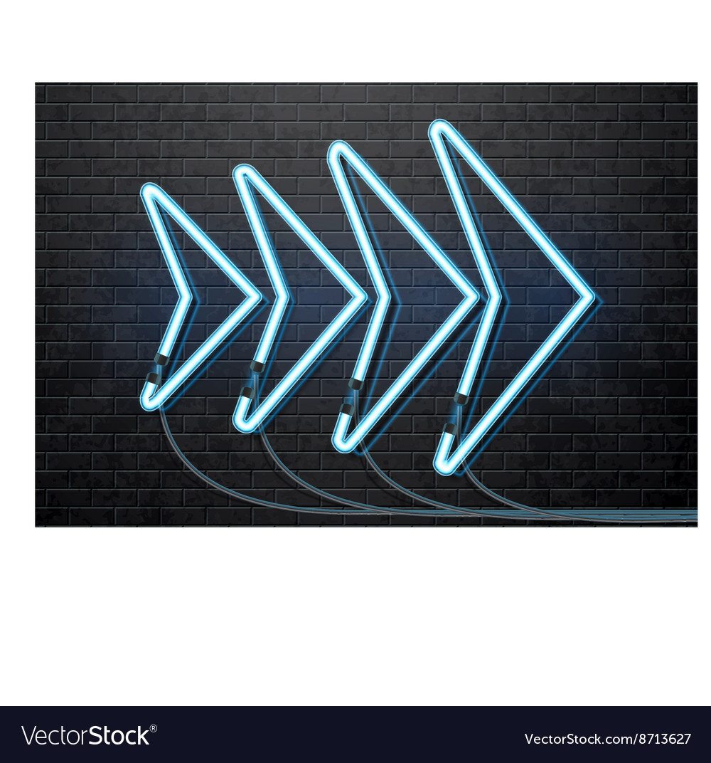 Neon blue arrow isolated on black brick wall vector