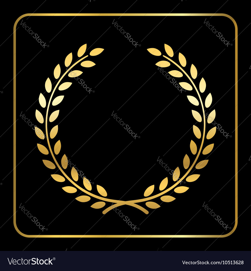 Gold laurel wheat wreath icon black vector