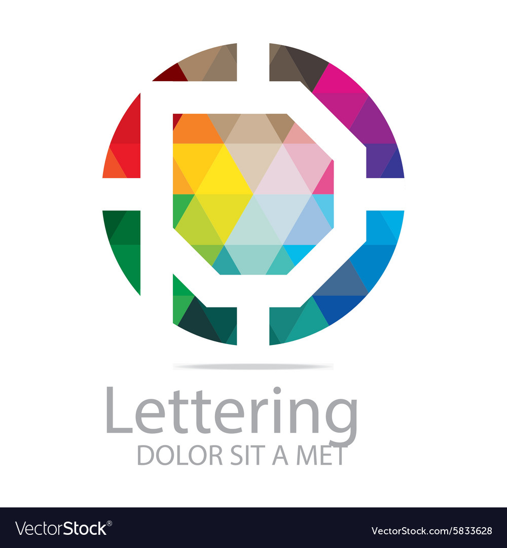 Logo abstract lettering p rainbow alphabet icon vector
