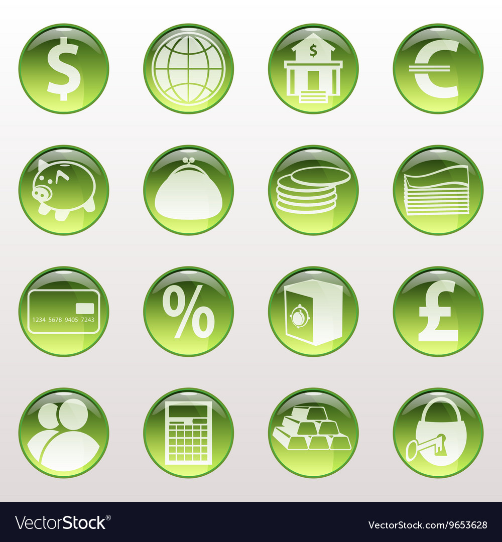 Set of icons of green color on an object bank vector