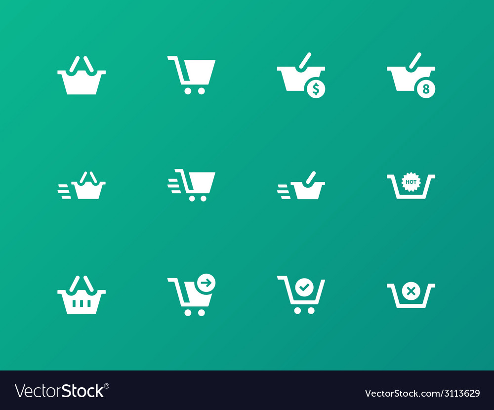 Checkout icons on green background vector