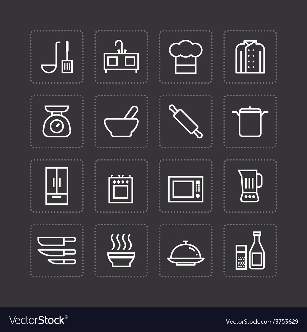 Flat icons set of kitchen cooking tools vector