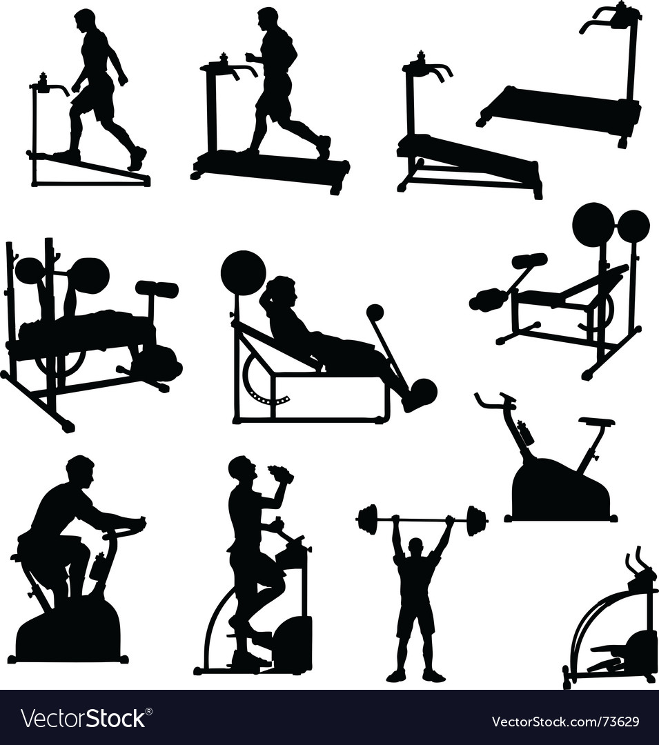 Male exercise silhouettes vector