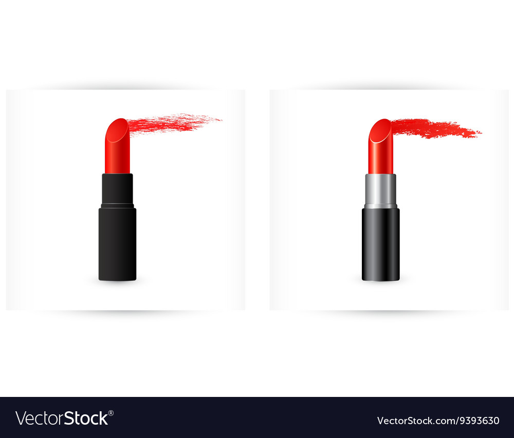 Red lipstick with trace vector