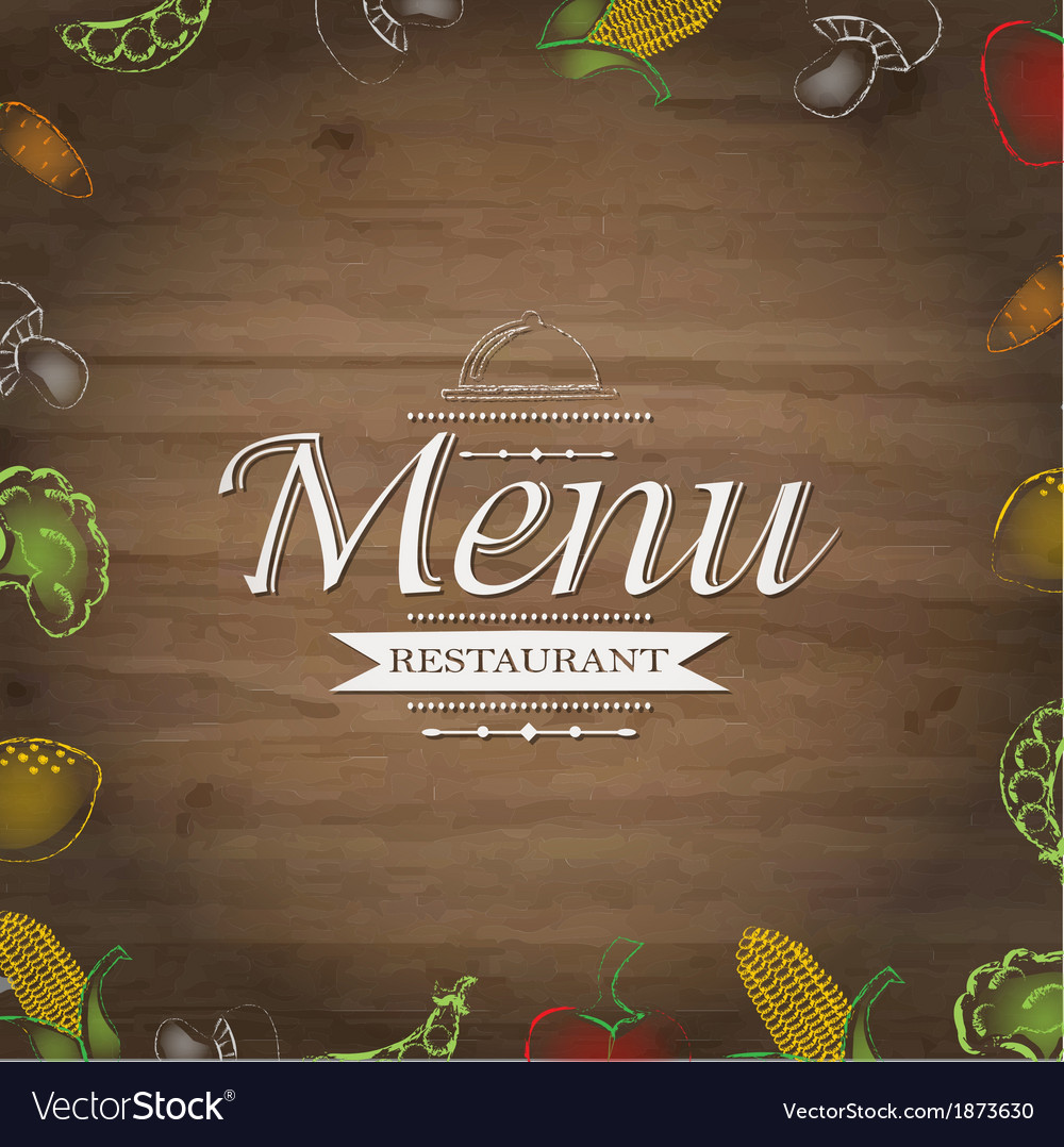Wooden background with drawn vegetables vector