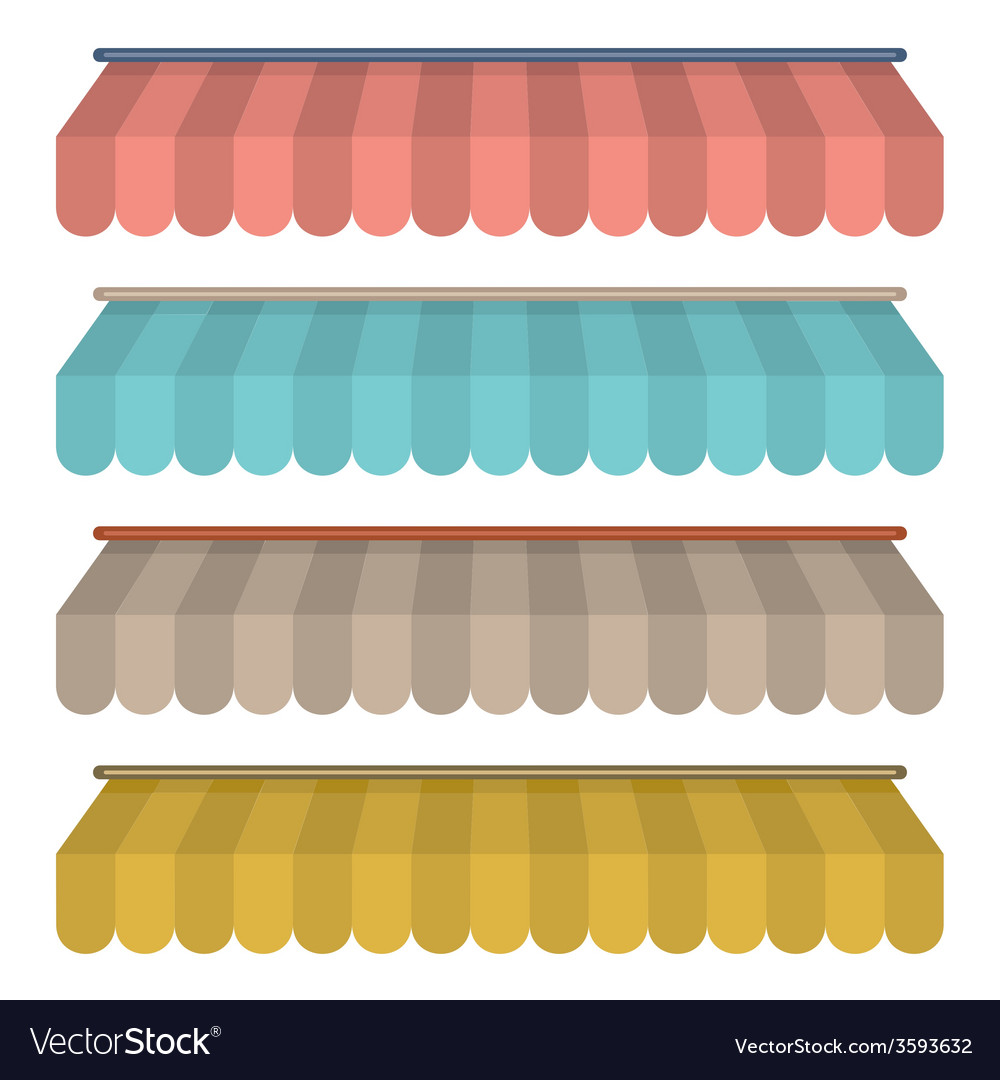 Flat design awning set vintage style vector