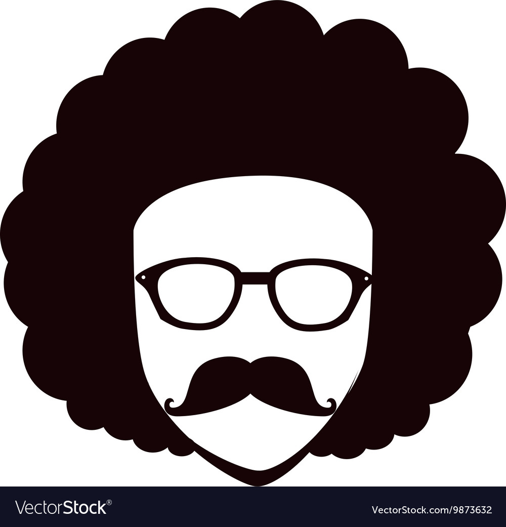 Man afro glasses cartoon vector