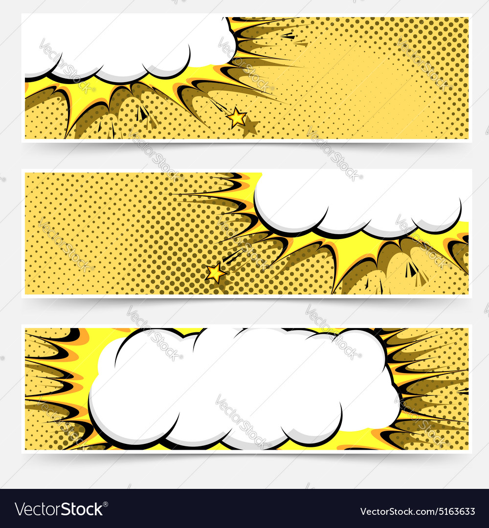 Popart comic book style web flyer layout vector