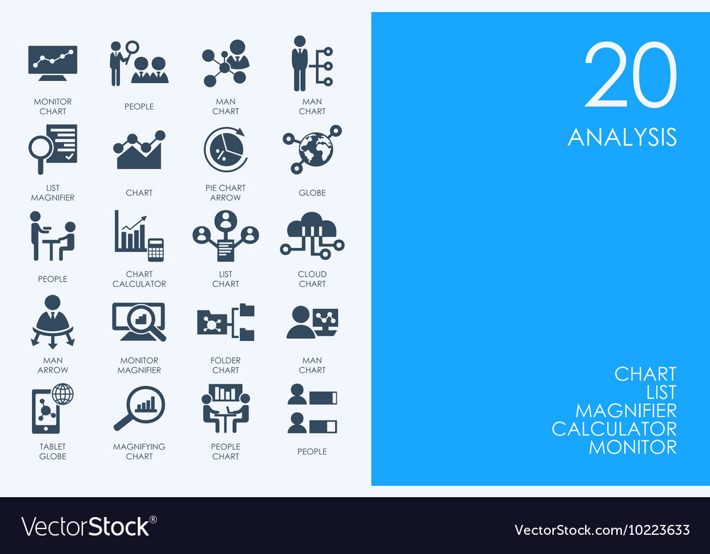 Set of blue hamster library analysis icons vector