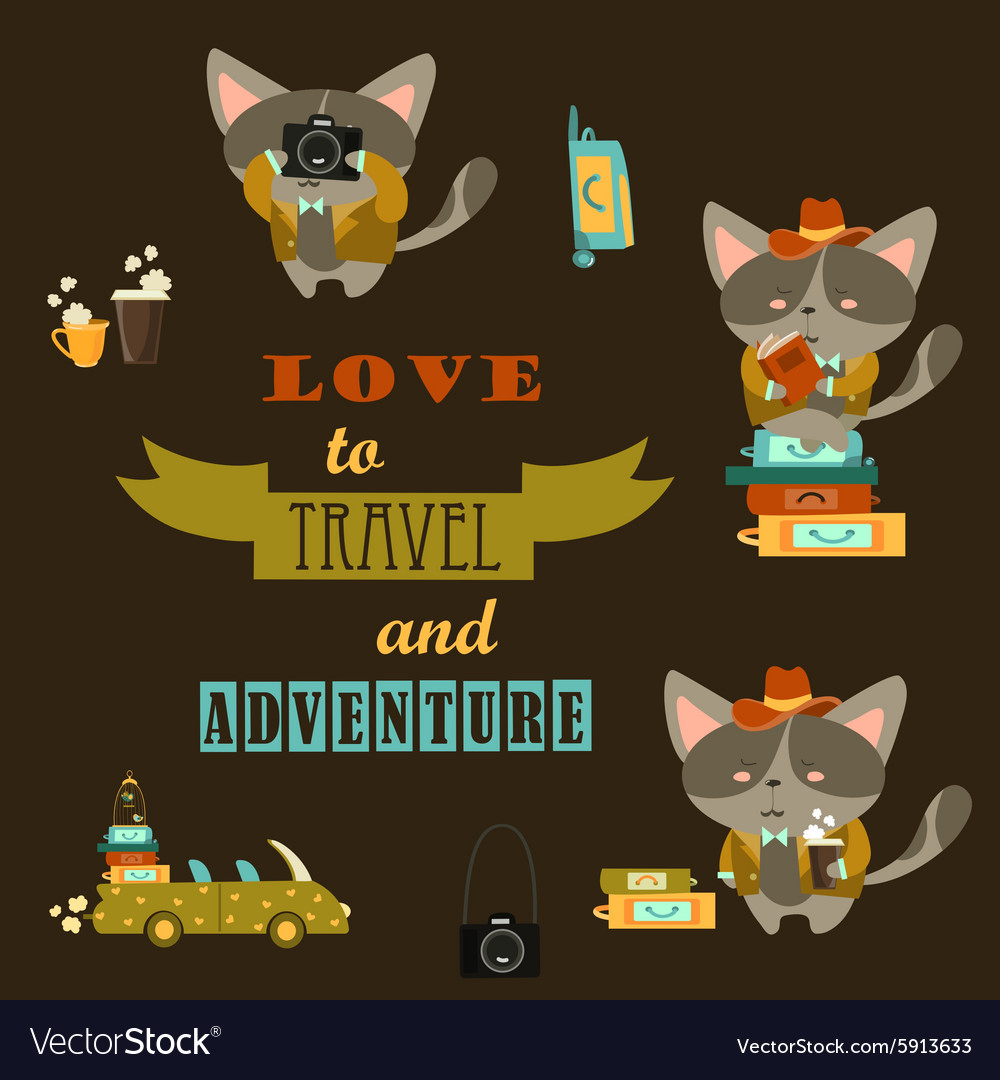 Set of cats travelers vector
