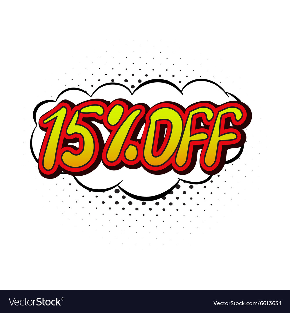 15 percent off comics icon vector
