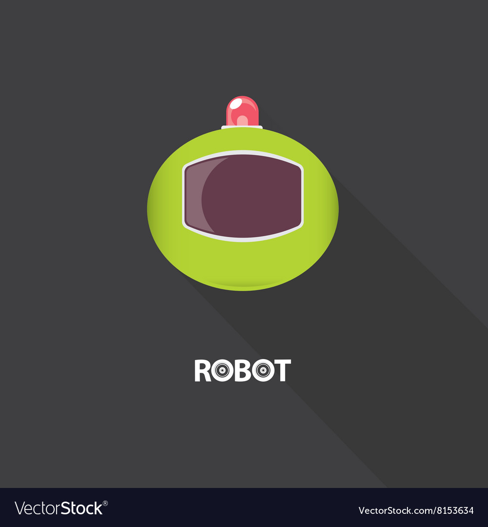 Green robot head logo design vector
