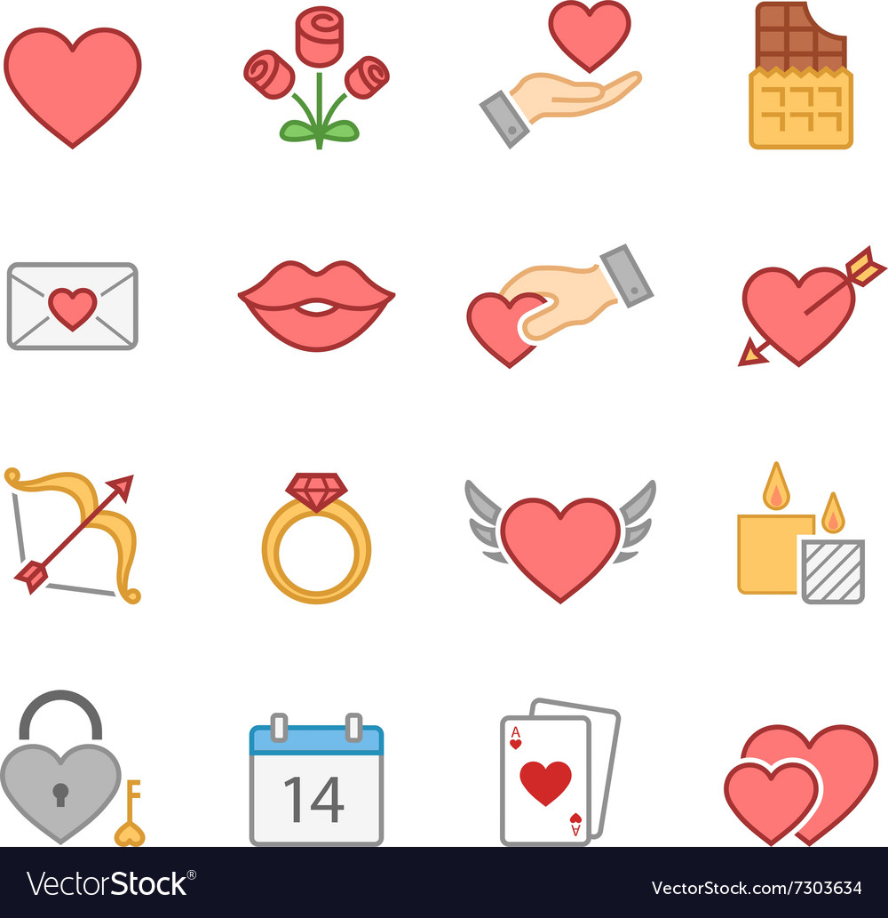 Valentine color icon set vector