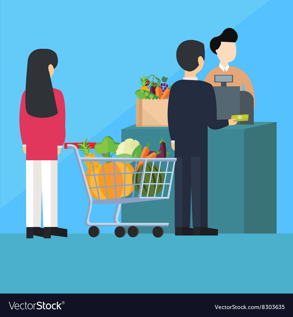 Waiting inline queue pay cashier grocery shopping vector