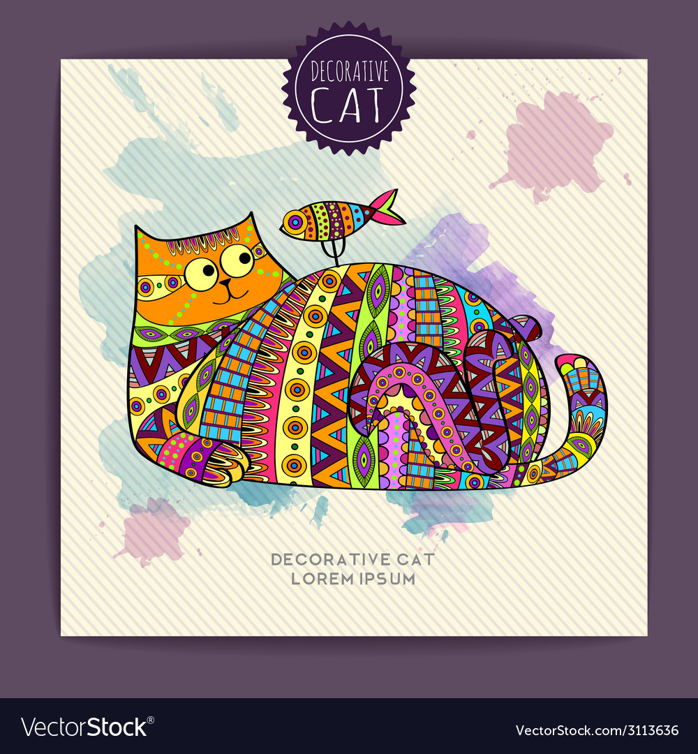 Card with decorative cat and watercolor stain vector