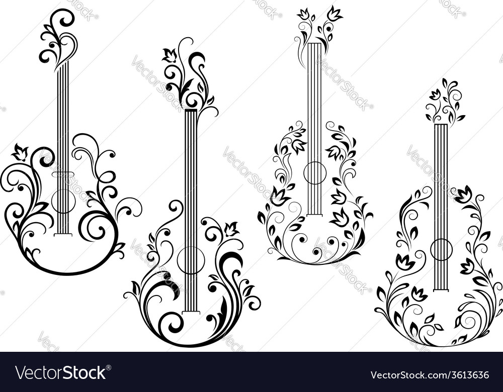 Floral acoustic guitar icons vector