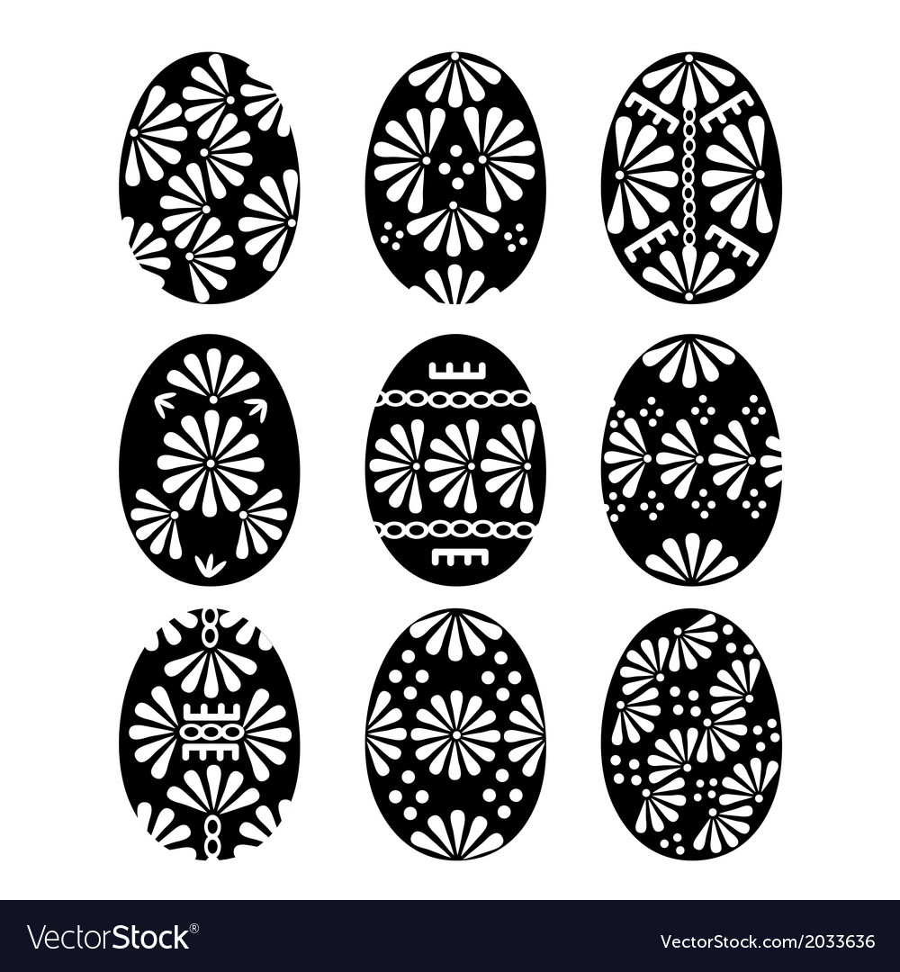 Set of black easter eggs with patterns vector