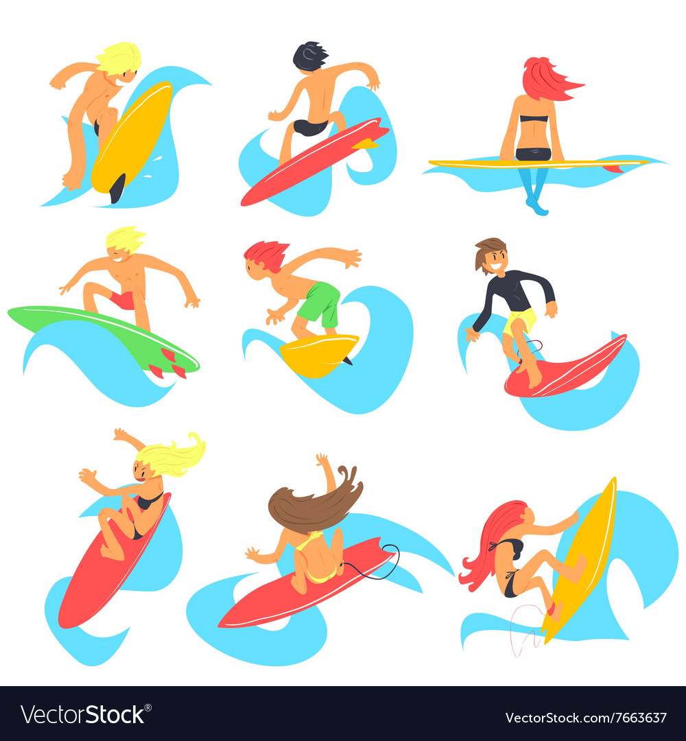 Surfing people set vector