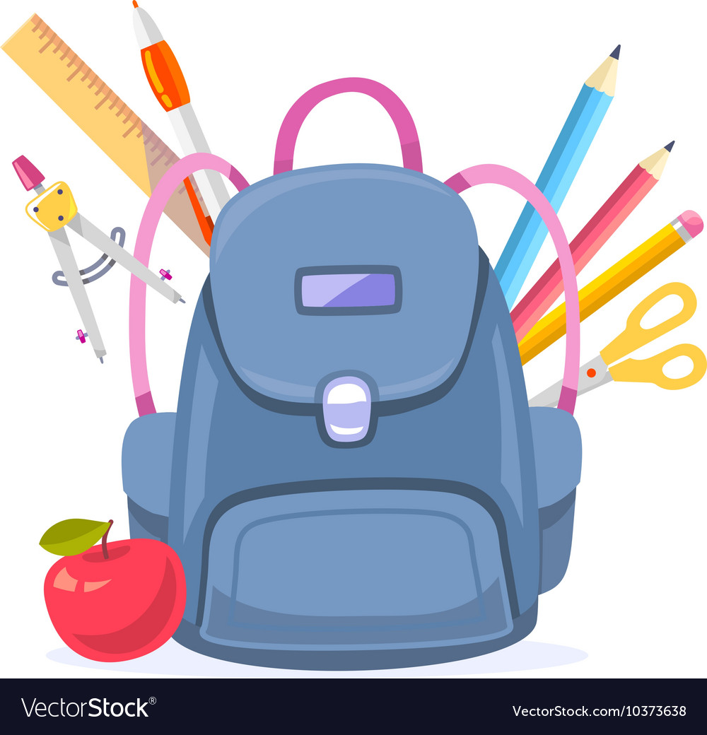 Colorful of big blue backpack with red apple vector