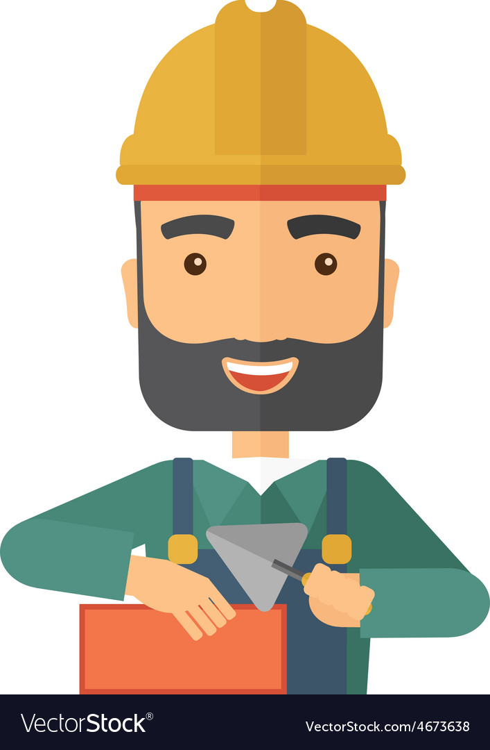 Mason man with trowel in hand vector