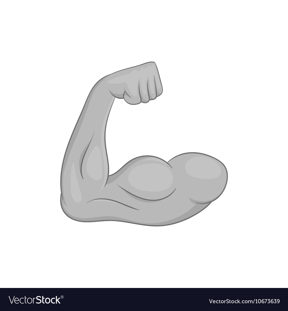 Muscular arm icon black monochrome style vector