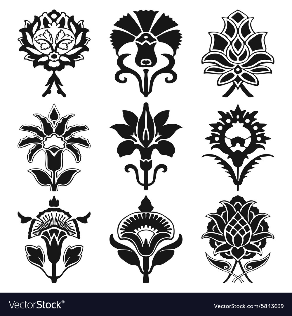 Vintage set oriental flowers pattern isolated vector