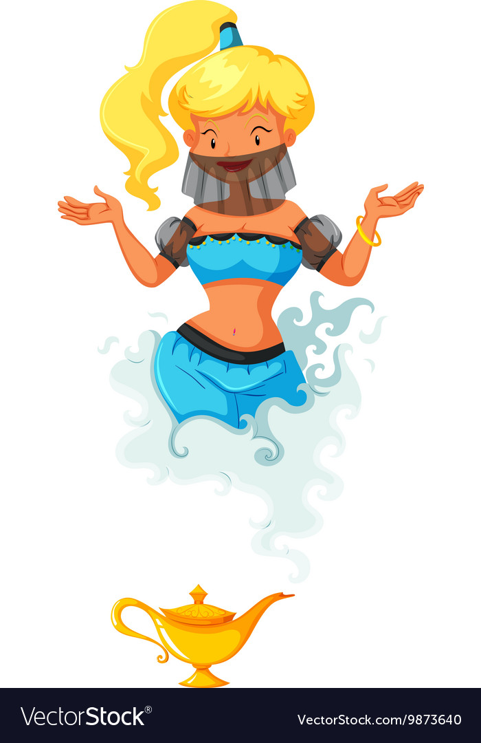 Genie coming out of the lamp vector