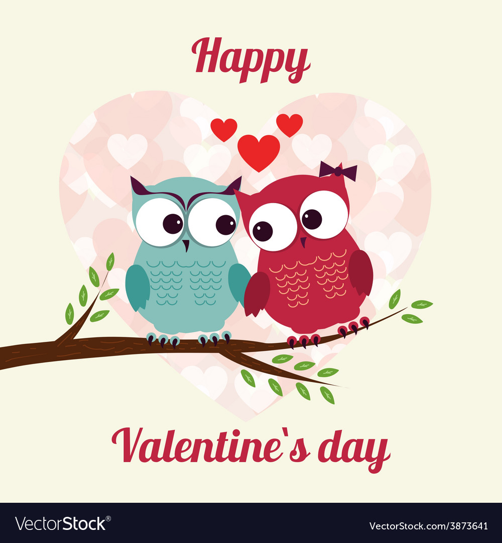 Lovers and happy owls on tree with hearts vector