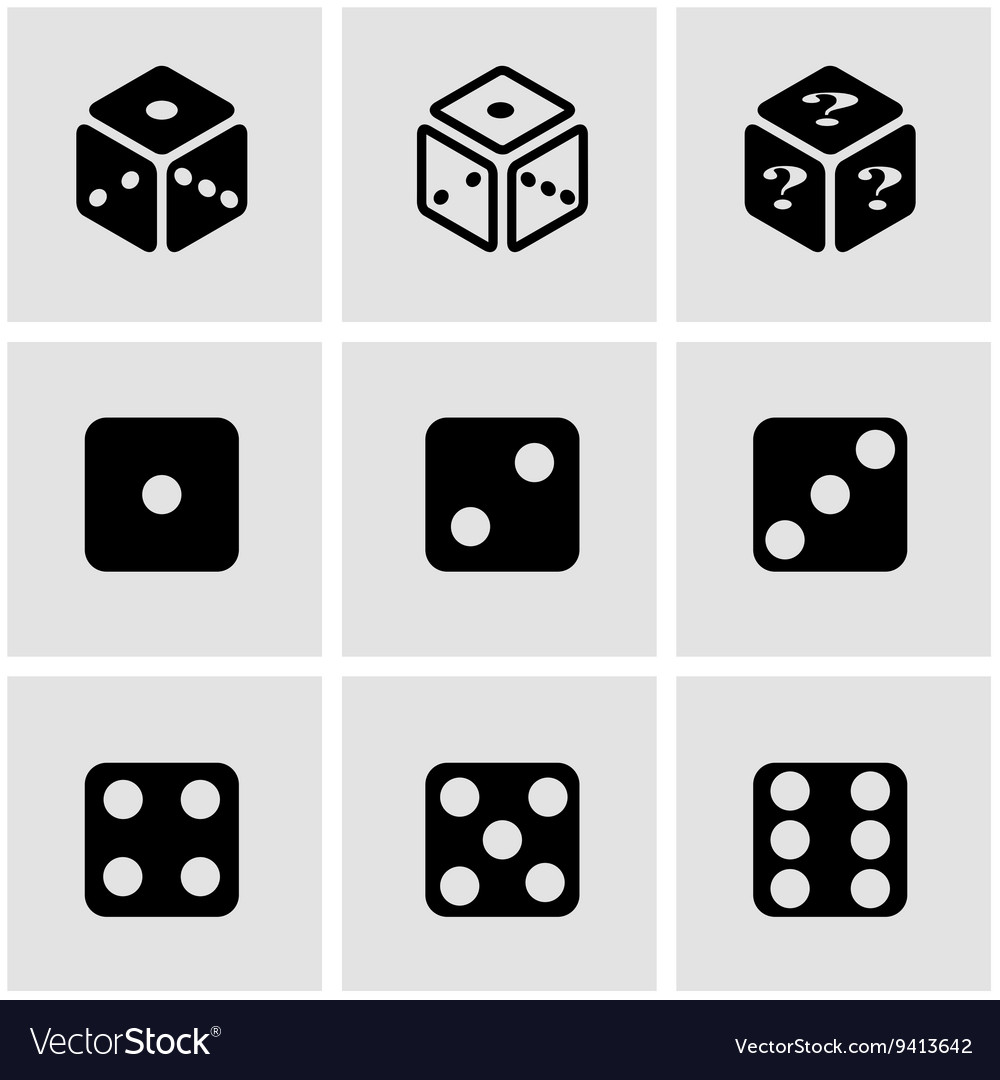 Black dice icon set vector